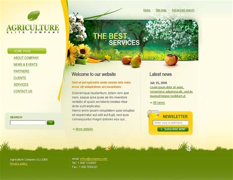 templates for agriculture website agriculture website template 20773