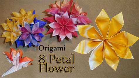 How To Make Paper Flower Petals - origami 8 petal flower