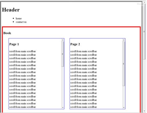 javascript layout control javascript scroll 2 div contents main content with