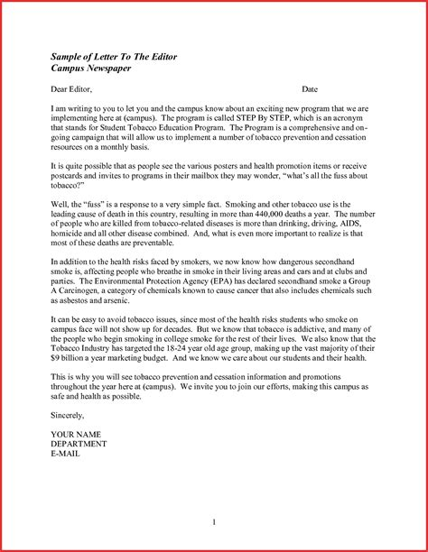 Formal Letter Sle To Newspaper Editor writing a letter to the editor exles cover letter