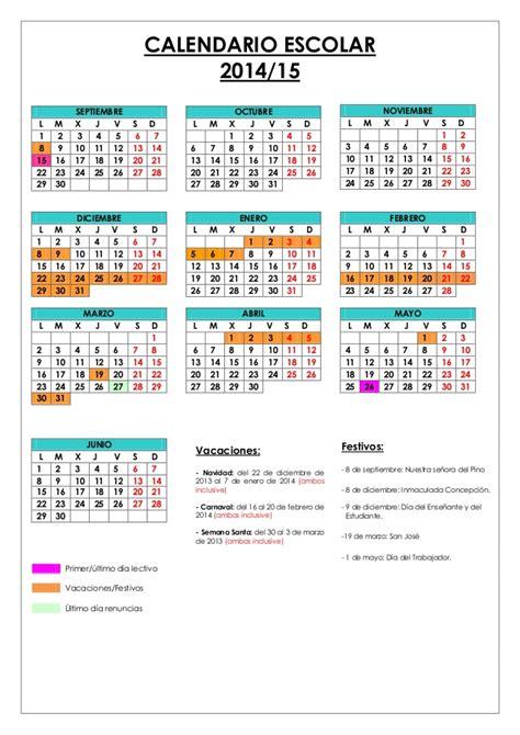 Calendario J 14 Calendario Escolar 2014 15