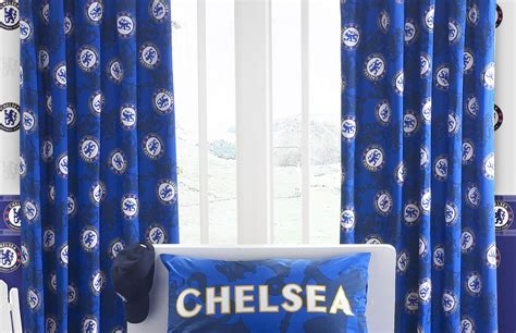 football curtain chelsea curtains 137cm drop football bedrooms