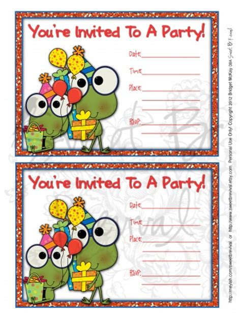 free birthday invitation pdf frog birthday invitation printable pdf file