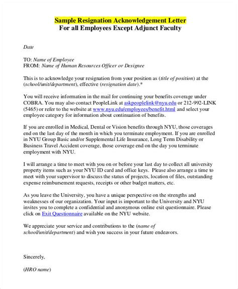 employee acknowledgement letter template word