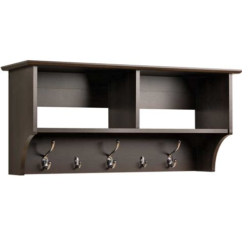 Shelf With Hooks by 36 Inch Hanging Shelf With Coat Hooks In Wall Coat Racks