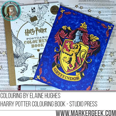 harry potter coloring book finished copic colouring gryffindor crest w marker