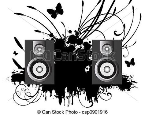 stock illustration of music 3d music speakers against a