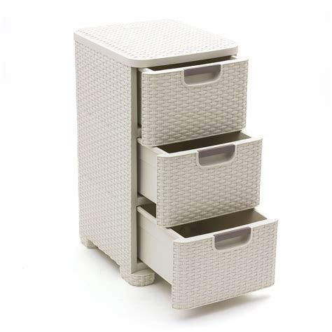 White Wicker Storage Drawers by Curver Rattan 3 Tier Tower Vintage White 14l Wicker Style