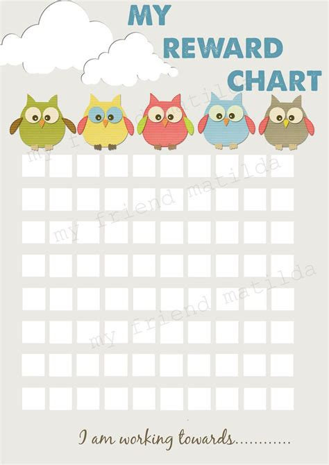 sticker chart template owl reward chart template