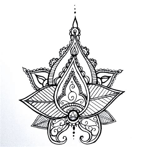 lotus henna tattoo illustrations lotus mandala temporary henna style