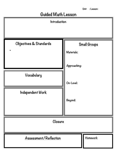 lesson plan template math workshop math for elementary