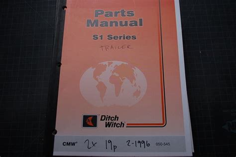 Ditch Witch S1 Trailer Parts Manual Book Catalog