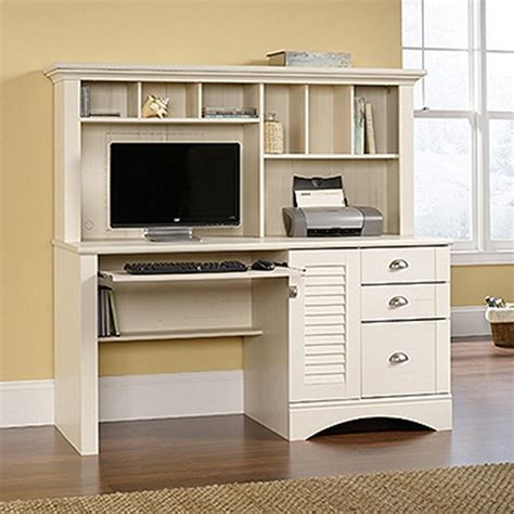 Sauder Harbor View Antiqued White Desk With Hutch 158034 White Desk And Hutch