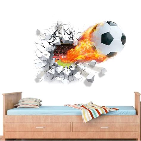Soccer Wall Mural firing football through wall stickers kids room decoration