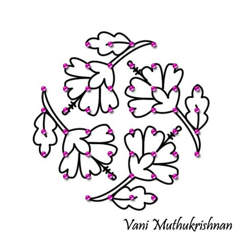 design flower kolam with dots kolam with dots flower designs