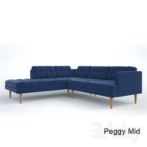 mid century sofa with chaise 3d models sofa peggy mid century chaise sectional