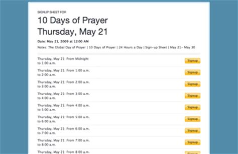 The Global Day Of Prayer For San Antonio Texas May 31 2009 6 30 P M 24 Hour Prayer Sign Up Sheet Template