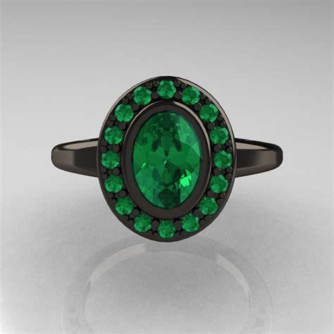 classic italian 14k black gold oval emerald engagement