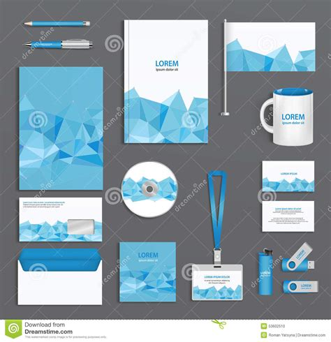 business id template blue corporate id template with triangular faces company