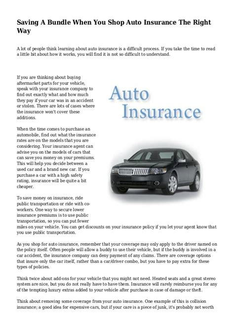 Shop Auto Insurance by Saving A Bundle When You Shop Auto Insurance The Right Way
