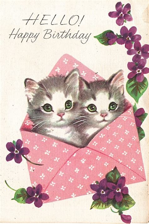 Happy Birthday Cat Card Unsigned Marjorie Cooper Birthday Card Ax 43