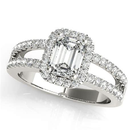 emerald cut engagement ring split shank 18k white
