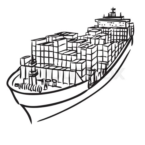 how to draw a cargo boat freehand sketch illustration of cargo ship with containers