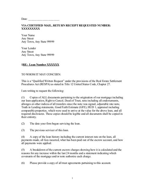 Closing Escrow Letter Sle Qualified Written Request Letter Pursuant To Respa