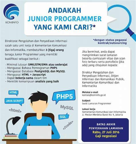 Surat Lamaran Cpns Kementrian Riset Dan Teknologi by Lowongan Kementerian Komunikasi Dan Informatika Kominfo
