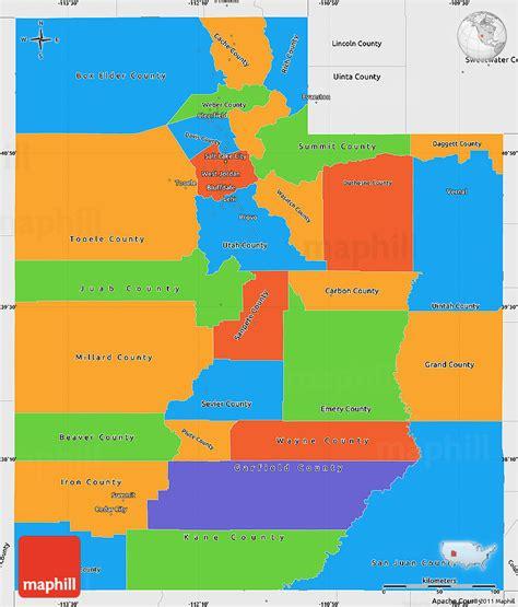 political colors political simple map of utah single color outside