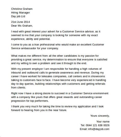 Customer Service Advisor Cover Letter by Customer Service Cover Letters 8 Free Documents In Pdf Word