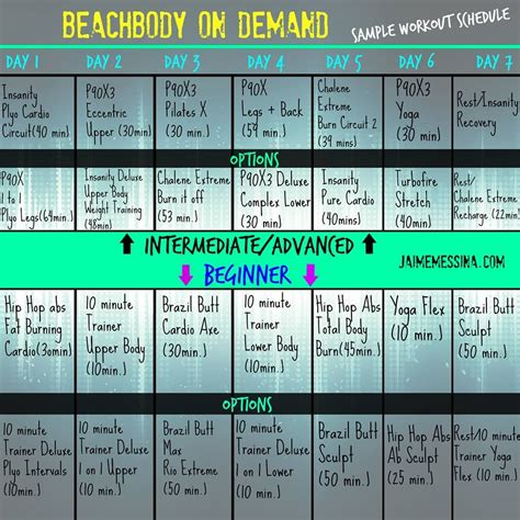 Calendrier Shop Deluxe Beachbody On Demand Workout Schedule