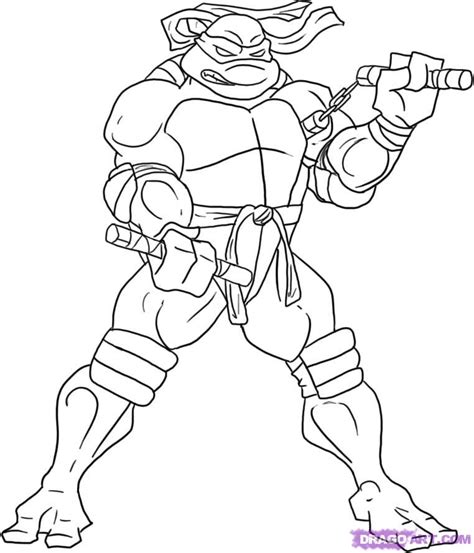 How To Draw Michelangelo From The Tmnt Step By Step Michelangelo Coloring Pages