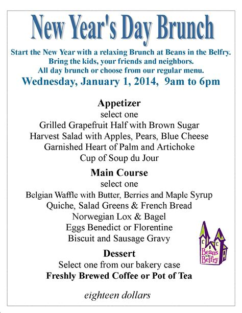 new year breakfast menu join us for an all day new year s day brunch