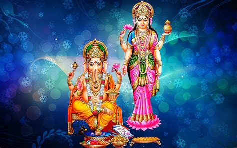 goddess laxmi  lord ganesh blue decorative background  snowflakes hd wallpaper
