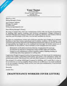 Worker Cover Letter by Maintenance Worker Cover Letter Sle Resume Companion