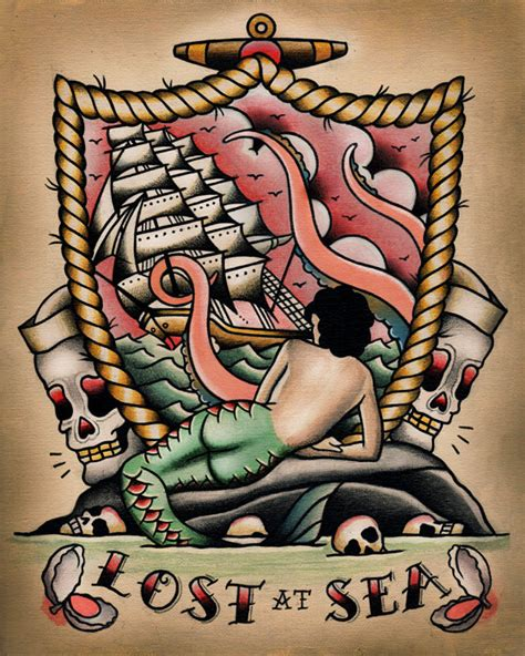 lost at sea mermaid nautical tattoo flash