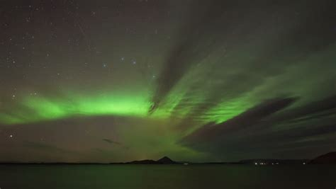 northern lights stock footage northern lights borealis reflected on a lake
