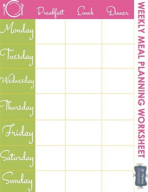 easy printable meal planner weekly meal planner printable get organized really
