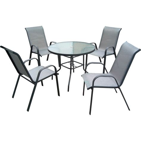 Patio Chairs Bunnings Marquee 5 Steel Sling Back Outdoor Setting