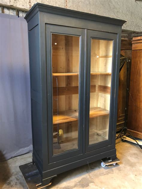 antique oak bookcase with glass doors for sale at pamono