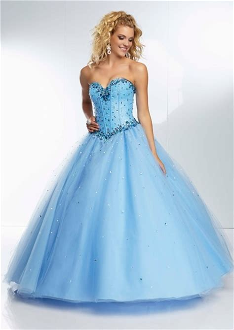 blue beaded gown gown princess sweetheart light sky blue tulle beaded