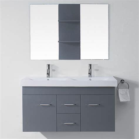 double sink 48 inch bathroom vanity virtu usa opal 48 inch grey double sink vanity set by