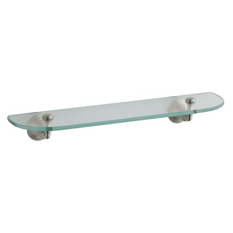 Brushed Nickel Bathroom Shelves Shop Kohler Devonshire 1 Tier Vibrant Brushed Nickel Glass Bathroom Shelf At Lowes