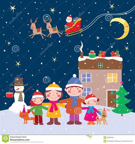 imagenes de feliz noche para la familia familia feliz en la noche de la navidad ilustraci 243 n del