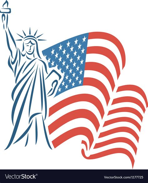statue of liberty and flag statue of liberty and usa flag royalty free vector image