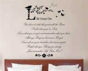 Wall Art Quotes Stickers Life Goes On Quote Vinyl Wall Art Sticker Decal Mural Home