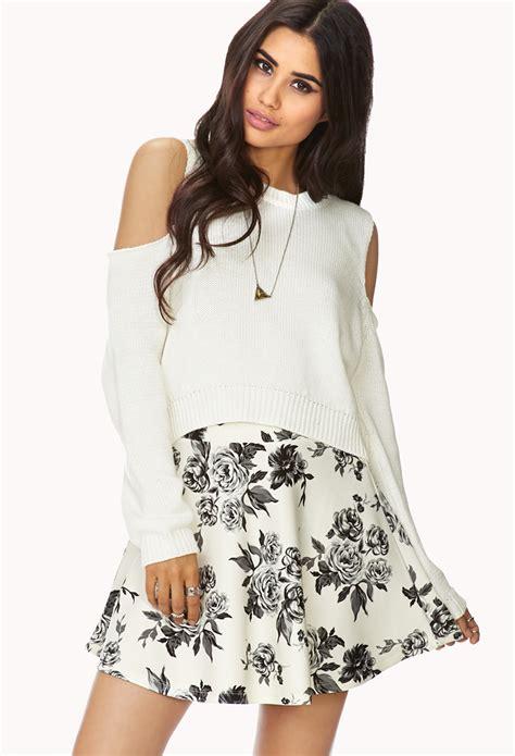Forever 21 Flower Skirt forever 21 dainty floral skirt in white lyst