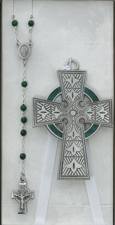 celtic cross with rosary celtic crib cross and rosary set bs38