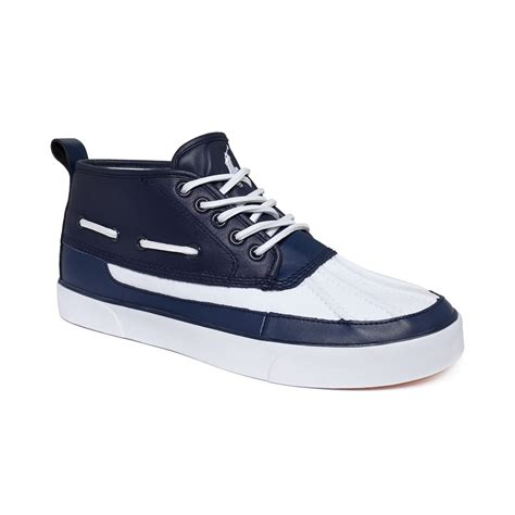 ralph white sneakers ralph parkstone mid boat sneakers in blue for